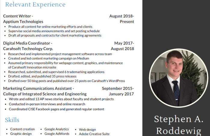 Screenshot of Stephen A. Roddewig, Content Writer's resume