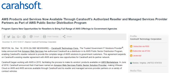 Screenshot of AWS-Carahsoft press release on GlobeNewswire
