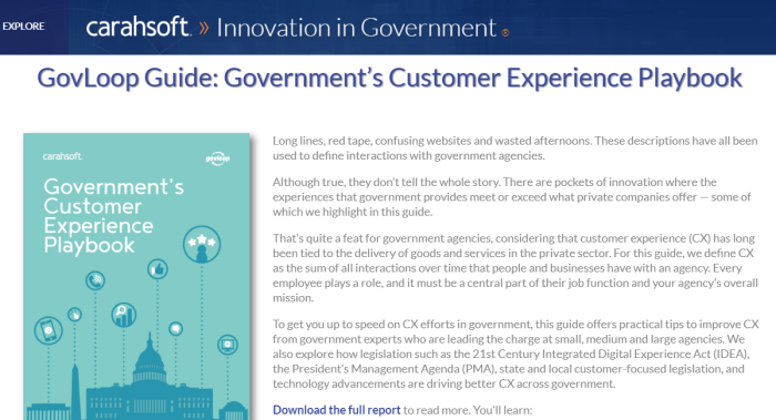 Customer Experience Playbook landing page