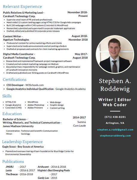 Screenshot of Stephen A. Roddewig's resume