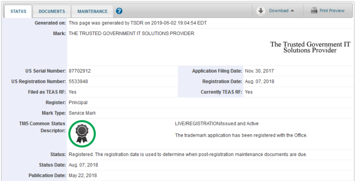 The Trusted Government IT Solutions Provider status page on the USPTO website