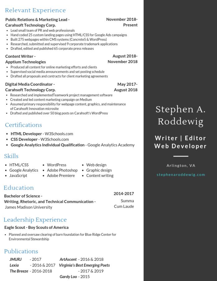 Screenshot of Stephen A. Roddewig's 2019 Resume