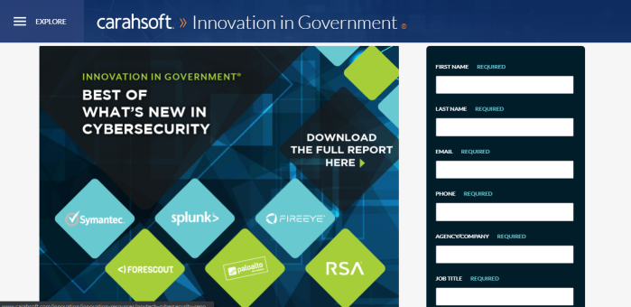GovTech October/November Report landing page screen capture