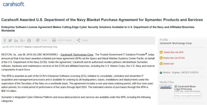 Screenshot of Symantec Navy BPA press release on GlobeNewswire