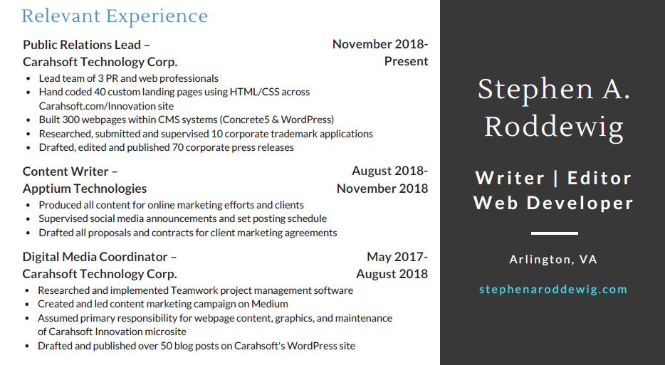Screenshot of Stephen A. Roddewig's 2019 Resume