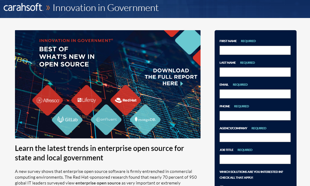 GovTech Open Source Report landing page screenshot