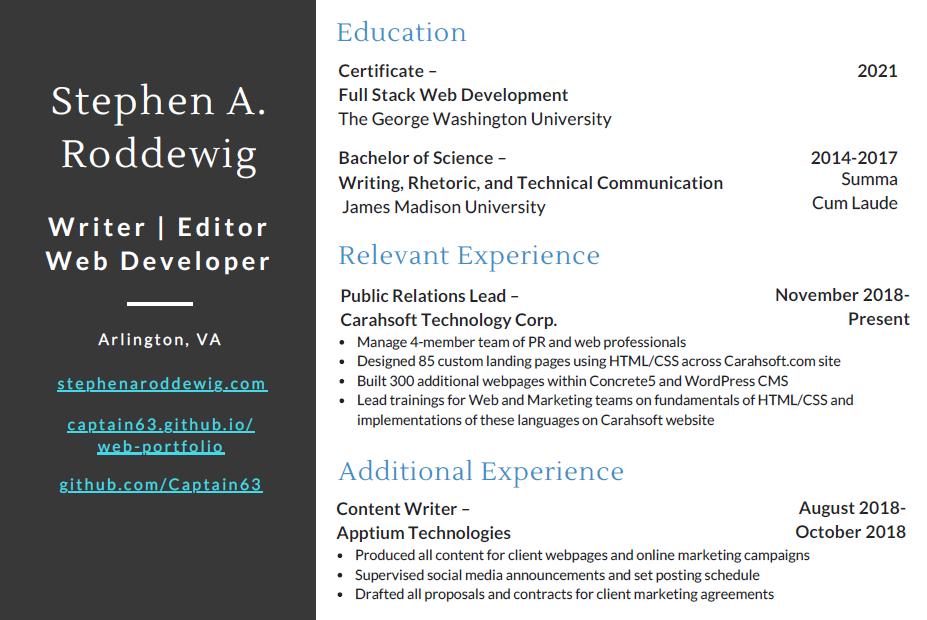 Screenshot of Stephen A. Roddewig's 2021 Front-end Developer Resume