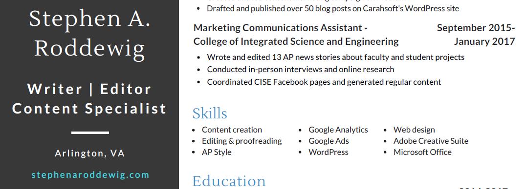 Screenshot of Stephen A. Roddewig's 2021 content writing resume